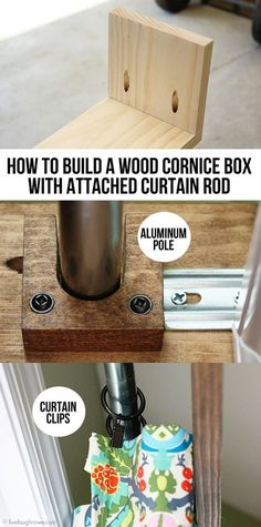 How to build a wood cornice box with attached curtain rod.live… How to build a wood cornice box with attached curtain rod. Wood Valence, Wooden Cornice, Cornice Box, Window Cornices, Window Coverings, Window Treatments, Cornice Boards, Window Cornice Diy, Wood Valances For Windows