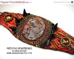 SPRING SALE 20% OFF Bead Embroidery Bracelet Cuff Gold Bronze Red Fire - shibori silk ribbon - bead embroidered - Daenerys Dragon Cuff -