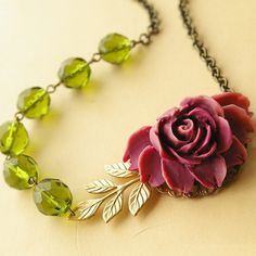 Maroon Rose and Olive Green Crystal Necklace, Gold Leaves, Bridesmaids Jewelry, VERONICA
