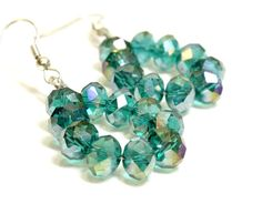 Crystal Loop Earrings. Teal Crystal Earrings. Red Crystal Earrings. Blue Crystal Earrings. Loop Style Earrings. Dangle Earrings with Beads #earrings #crystal