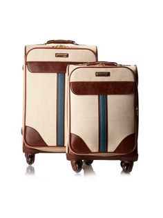 Isabella Fiore Women's South Hampton 2-Piece Spinner Upright Luggage Set, Beige/Blue, http://www.myhabit.com/redirect?url=http%3A%2F%2Fwww.myhabit.com%2F%3F%23page%3Dd%26dept%3Dwomen%26sale%3DA3M6P9YLPIJ774%26asin%3DB00A6DOEG2%26cAsin%3DB00A6DOEG2