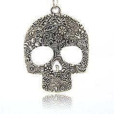 Huge Antique Silver Skull Pendant Silver Pendant by TheBeadBandit, $3.99