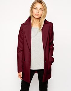 wine coloured coat | asos