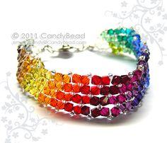 Sparkling in various HOT rainbow colors - Simply Dark Rainbow Swarovski crystal bracelet, very beautiful!!!  I have many items for the Best Beautiful Bracelets. Please come look! Thank you ♥