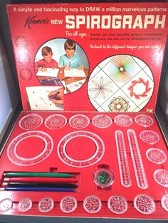 Kenner Spirograph 401 Art Drawing Set Red Tray Box Vintage 1967 Instructions #Spirograph