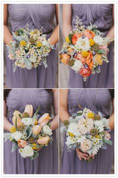 Maids bouquet idea. Use all the same flowers, but accent each bouquet with something different! These summer bouquets include peach david austin roses, succulents, queen anne's lace, billy balls, scabiosa pods, aster novi, ranunculas, lavender, lambs ear, and sweet pea.