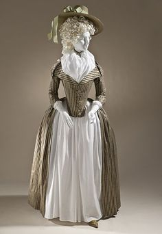 Woman's redingote, Europe, circa 1790. Silk and cotton satin and plain weave. Los Angeles County Museum of Art.