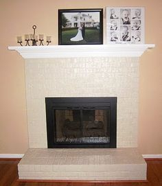 After picture of a before and after old red brick fireplace with brass door.