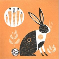 jane ormes, rabbit, texture, hare, easter, printmaking, carrot, two colour, print, screen printing, illustration, printmaking