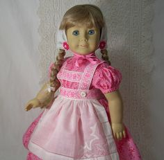 Vintage Valentine Dress Apron Pantalettes Bonnet for Kirsten American Girl | eBay