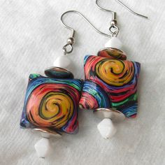 Magic Swirl Earrings in polymer clay by RenGalSA (Deb Hart), via Flickr