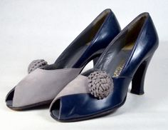 TWO TONE NAVY BLUE LEATHER & GRAY SUEDE 1930's VINTAGE WOMEN'S PEEP TOE PUMPS - SAKS FIFTH AVENUE, FENTON FOOTWEAR - ESTIMATED SZ. 7 - AVAILABLE AT RPVINTAGE.COM