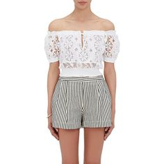 Temptation Positano Women's Mensa Crop Top ($230) ❤ liked on Polyvore featuring tops, white, white top, white off the shoulder top, off the shoulder crop top, off the shoulder crochet top and keyhole crop top