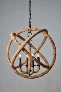 Amazon.com - 4 Light Jute Rope Sphere Pendant Lamp Iron Frame Banded -