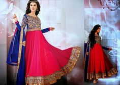 Dazzling Diva Blue & Red Long Anarkali Suit