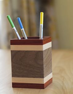 Padauk Maple and Walnut Pencil Holder Awesome Teacher Gifts for Desk !