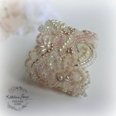 Bridal cuff bracelet lace crystal pearl - ivory & shades of pink / blush pink Bridal wedding Bracelet - pearl and crystal Cuff - pearl color options available kathleen barry Lace Jewelry, Bridal Jewelry, Wire Jewellery, Bridal Cuff, Bridal Lace, Wedding Bracelet, Pearl Color, Bead Art, Beaded Embroidery