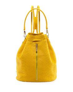 Elizabeth and James Python-Embossed Drawstring Backpack, Lemon Zest - Bergdorf Goodman | Resort 2014