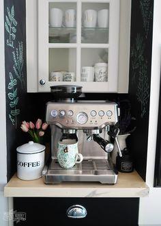 Beautiful Spring coffee station decor