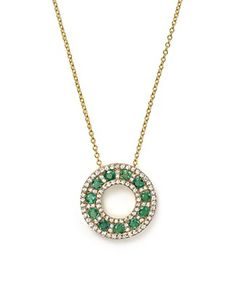 Bloomingdale's Emerald and Diamond Circle Pendant Necklace in Yellow Gold, - Exclusive Jewelry & Accessories - Bloomingdale's Emerald Pendant, Diamond Pendant, Diamond Jewelry, 4 Cs Of Diamonds, Circle Pendant Necklace, Coin Jewelry, Jewelry Design, Jewelry Ideas, Chain Pendants