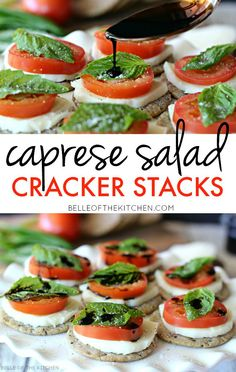 Caprese Salad Cracker Stacks with Balsamic Reduction The easiest gluten free appetizer ever! Made with tomatoes, fresh mozzarella, basil, and a homemade balsamic reduction, all stacked on top of a Breton Gluten Free cracker! So simple and SO good! Gluten Free Appetizers, Healthy Appetizers, Appetizers For Party, Appetizer Recipes, Healthy Snacks, Crackers Appetizers, Tapas, Gluten Free Crackers, Bon Dessert