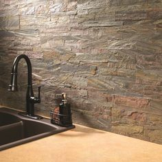 Cover your walls with real, thin-cut stone in a flexible tile backsplash.