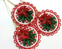 Set of 2x Quilling Christmas Snowflake Ornament by MimiArtandCraft