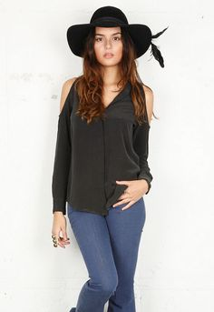 Nixie Open Shoulder Top in Black - by Equipment. I think I could do this
