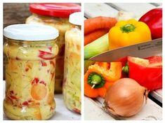 SALATĂ de LEGUME pentru iarnă, în sos de MUȘTAR | La Taifas Fresh Rolls, Pickles, Cantaloupe, Cucumber, Potato Salad, Cancer, Vegetables, Breakfast, Ethnic Recipes