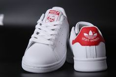 Acheter chaussure adidas stan smith  rouge blanc homme femme pas cher