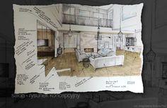 szkic do projektu wnętrza, Magdalena Sobula Pe2