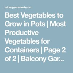 Best Vegetables to Grow in Pots | Most Productive Vegetables for Containers | Page 2 of 2 | Balcony Garden Web