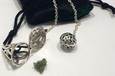 Rough Moldavite Pendulum Tektite 925 Sterling Silver Celtic Knot Divination