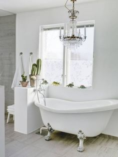 Every soaking tub benefits from a crystal chandelier