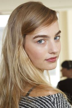The models at Tory Burch had the perfect rosy cheeks and lips–how to get the beauty look here: