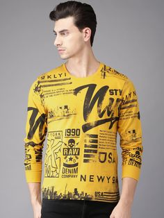 Buy Moda Rapido Men Mustard Printed Round Neck T Shirt - - Apparel for Men from Moda Rapido at Rs. Mens Tee Shirts, Boys Shirts, T Shart, Denim Company, Custom T Shirt Printing, Mens Trends, Bishop Sleeve, Neck T Shirt, Shirt Designs