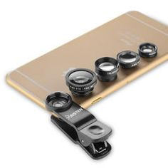 4-in-1 Universal Clip-on Lens Kit - Wide Angle/ Macro/ Fisheye/ Telephoto For iPhone Samsung HTC and More Smartphones, Black - Sears