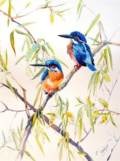 Original art for sale at UGallery.com | Kingfisher and Willow by Suren Nersisyan | watercolor painting | 24' h x 18' w