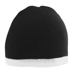 277cf01e566 6820 Two-tone Knit Beanie Black White OS