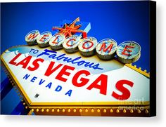 Fabulous Canvas Print featuring the photograph Welcome To Las Vegas Sign by Amy Cicconi