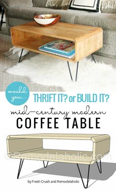 Mid-Century Modern Coffee Table -- made from thrifted cubbies OR build your own with a little bit of creative saw work! @Remodelaholic