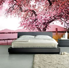 Wall MURAL Pink Blossom Wall Paper, Self-Adhesive Wall Covering, Peel And Stick Repositionable Tree Wallpaper