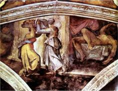 Pictured above: Judith carrying the head of Holofernes. Artist: Michelangelo, Sistine Chapel Ceiling, Vatical City, c. Judith was one of the great Jewish heroines. Judith single-handedly conceived of a daring and ingenious plan to save the Jews during an High Renaissance, Renaissance Artists, Judith And Holofernes, Sistine Chapel Ceiling, Art Occidental, Italian Sculptors, Fra Angelico, Bible Images, Free Art Prints