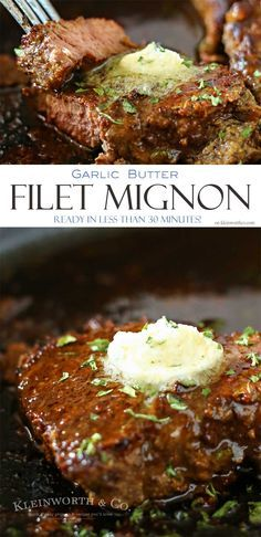 This Garlic Butter Filet Mignon is the most tender & delicious cut. Smothered in garlic butter, it melts in your mouth. A great easy family dinner idea. via @KleinworthCo