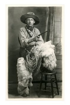 Young cowboy with woolly chaps, worn mostly on the northern plains, Great Basin and points north.