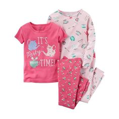 Girls 4-12 Carter's Printed Design Pajama Set, Girl's, Size: 10, Pink