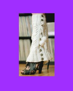 Button Up Boot Covers Knitting Pattern Womens  Sexy Leg Warmers Shoe Covers PDF Instant Digital Download