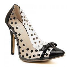 Transparent, studded black patent #heels #shoes