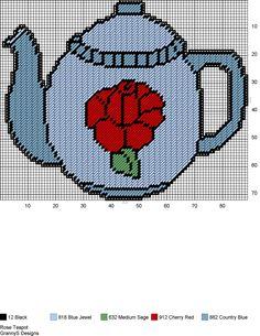 ROSE TEAPOT by GrannyS Designs -- WALL DECOR