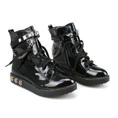 Women Black Patent Leather Studded Punk Biker Ankle Chain Boots Sale SKU-11405069